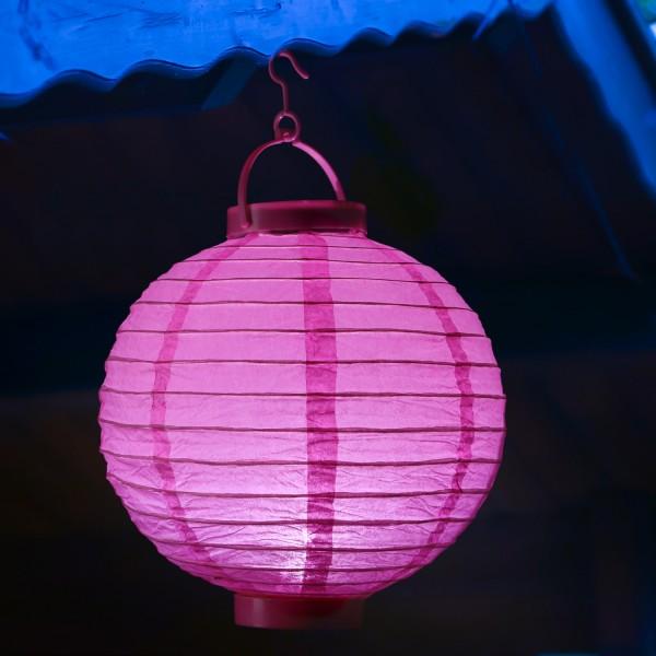 LED Lampion FESTIVAL - Papierlaterne - kaltweiße LED - D: 30cm - Montagehaken - pink