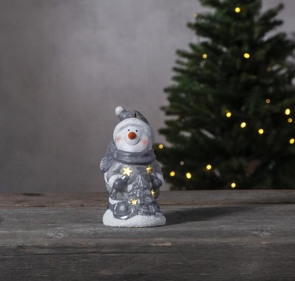 "LED-Keramik-Figur ""Friends"" - weiss/silberner Schneemann - 6 warmweiße LEDs - ↑15cm"