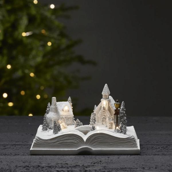 """LED-Weihnachtszene im Buch """"Bookville"""" - 6 warmweiße LED - H: 13cm - Batteriebetrieb - Timer - weiß"""