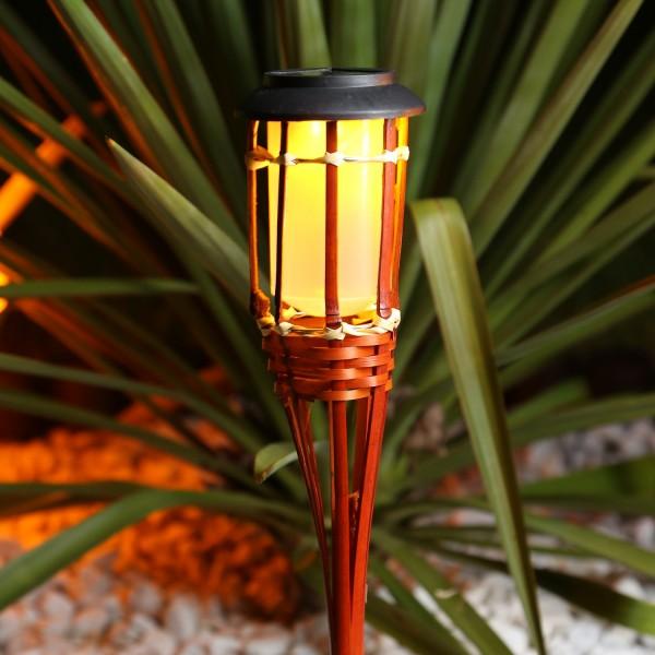 LED Solar Gartenfackel - Bambus - simulierter Flammeneffekt - H: 54cm - braun