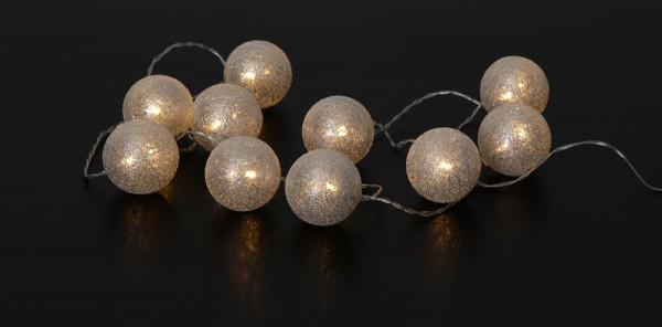 LED-Ball Lichterkette SILVER GLITTER - 10 Kugel (D: 6cm) an 1,35m transparentem Kabel - inkl. Trafo
