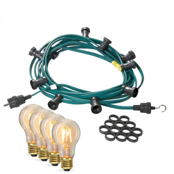 Illu-/Partylichterkette 20m | Außenlichterkette | Made in Germany | 20 x Edison LED Filamentlampen