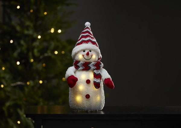 B-Ware LED Stoff-Figur Schneemann - rote Mütze & Schal - 8 warmweiße LED - H: 38cm - Batteriebet
