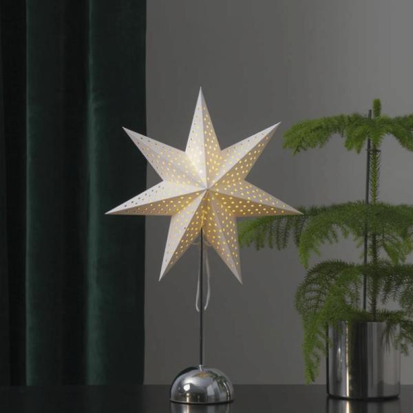 """Papierstern """"Lottie"""" - stehend - 7-zackig - 50 warmweiße LED - Ø 35cm, H: 55cm - creme/silber"""