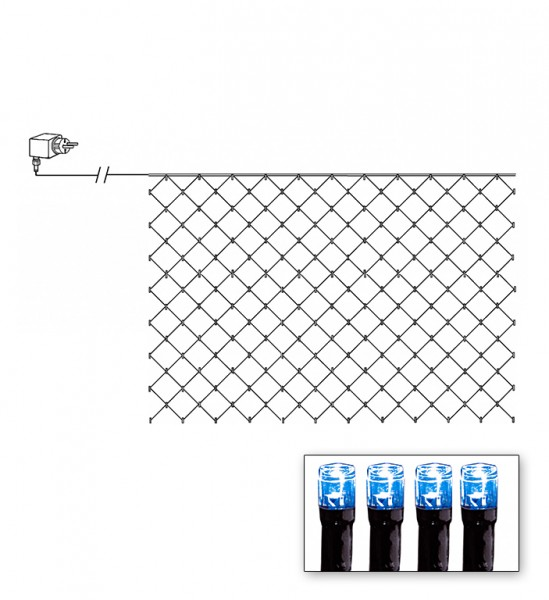 LED-Lichternetz | Serie LED | Outdoor | Schwarzes Kabel | blaue LED | 3.00m x 3.00m | 180x LEDs