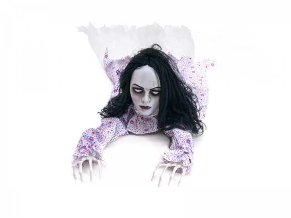 Kriechende Zombiefrau - bewegte 150cm Halloween Figur mit Licht und Geräuscheffekten - Sensor