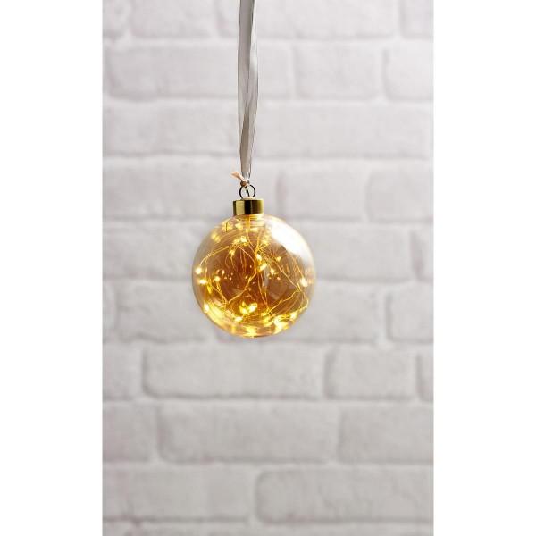 Glaskugel GLOW - amber Glas - 15 warmweiße LED am Draht - D: 10cm - Batteriebetrieb - Timer