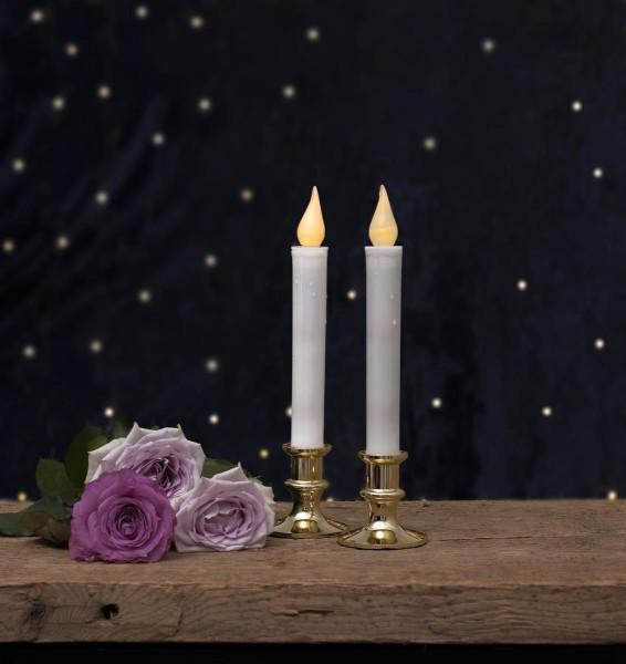 "LED-Kerzen ""Mette"" 2er Set - mit messingfarbenem Standfuss - warmweiße LED - H: 23cm - Timer"