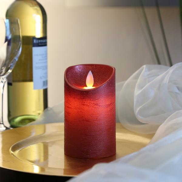 LED Kerze M-Twinkle - Echtwachs - bewegliche Flamme - Auspustfunktion - Timer - H: 12,5cm - rot