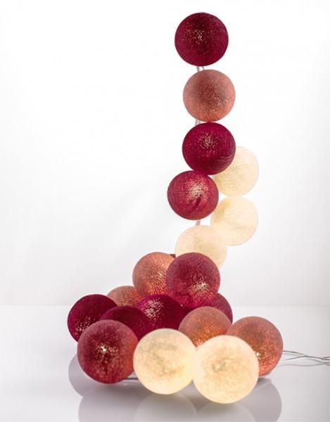 good moods* PRETTY IN PINK - Ball-Lichterkette mit 20 Stoffkugeln - 20 warmweiße LEDs