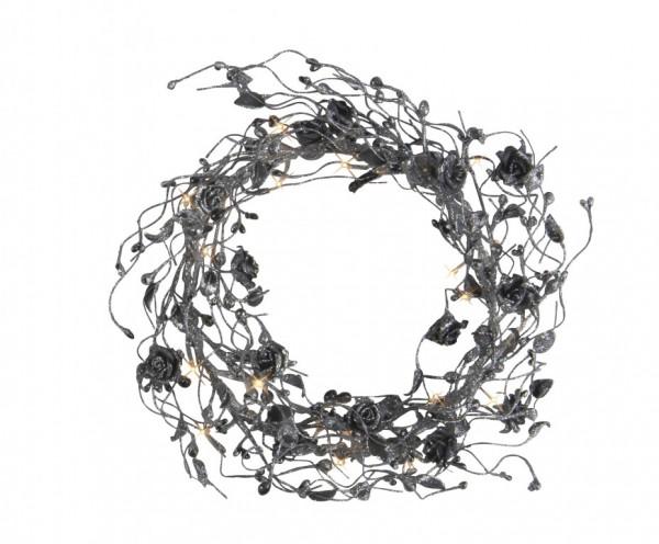 Glitzer-Blütenkranz schwarz