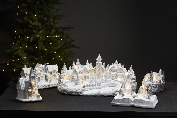 """LED-Weihnachtszene """"Winterville"""" - Häuser im Schnee - 9 warmweiße LEDs - weiss - ↑13,5cm"""