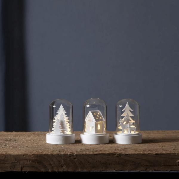 LED Deko im Glas - 3er Set - Baum, Haus, Rentiere - Holzdekoration weiß - warmweiße LED - H: 8,5cm