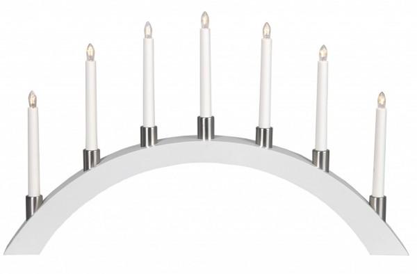 B-Ware Lichterbogen TALL - 7 warmweiße Glühlampen - L: 67cm, H: 40cm - Holz - Schalter - Weiß