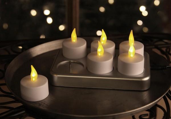 LED Teelicht 6er mit Ladestation - Schalter