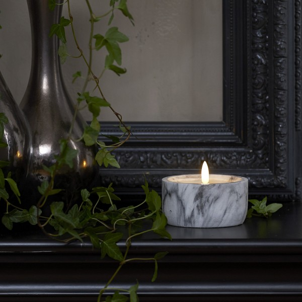 LED Kerze FLAMME - Marmoroptik - Echtwachs - natürlich aussehende Flamme - Timer - H: 7,5cm D:10cm