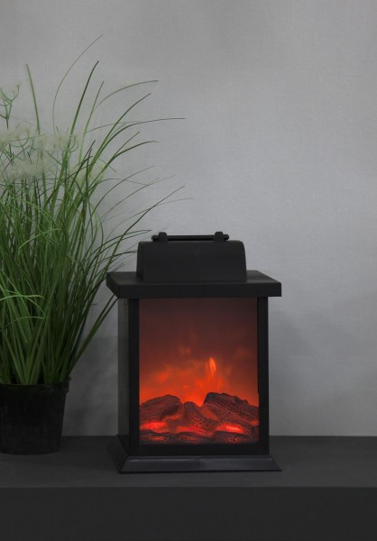 LED Laterne FIREPLACE, flackernd  - H: 21cm - B: 15cm T: 14cm - Timer