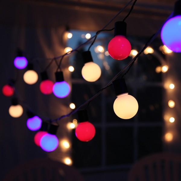 LED Party Lichterkette - 20 bunte LED - L: 5,7m - grünes Kabel - outdoor - pastelfarben