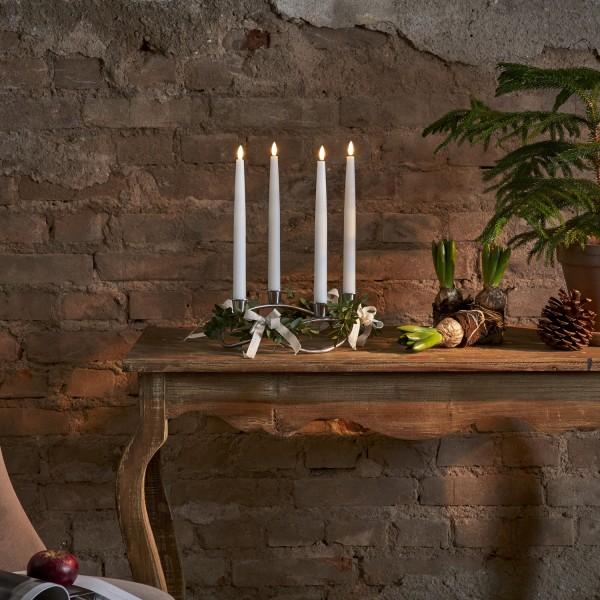 LED Stabkerzen Flamme - Echtwachs - flackernde warmweiße LED - H: 28,5cm - Fernbedienung - 4er Set