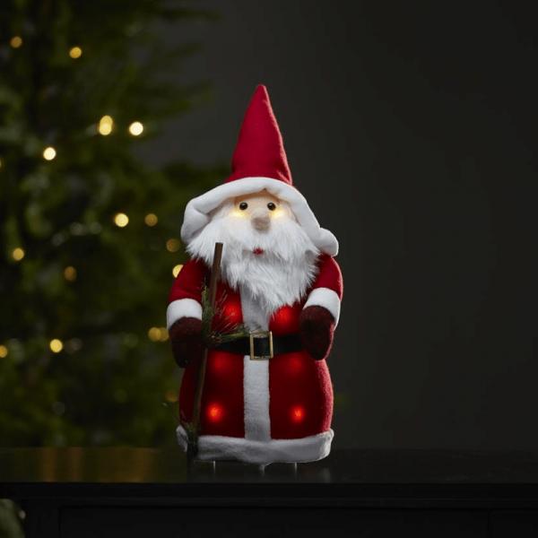 LED Stoff-Figur Weihnachtsmann - rote Mütze & Schal - 8 warmweiße LED - H: 38cm - Batteriebetrieb