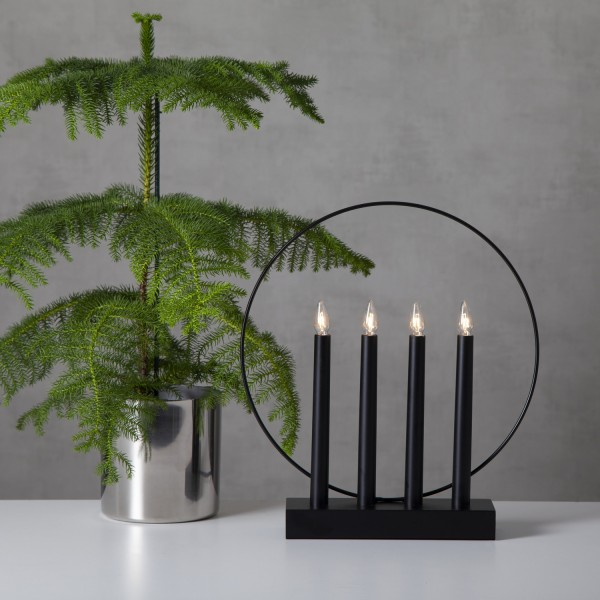 Fensterleuchter/Kerzenleuchter Glossy - 4 klare Glühlampen - Holz - H: 35 cm - f. Innen - schwarz