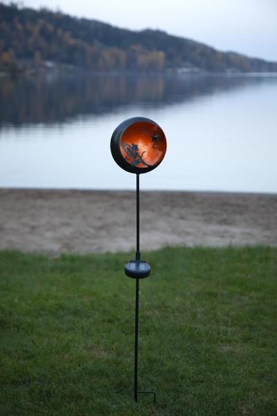 """LED-Solarstab """"Fairy""""- schwarz - amber LED - innen beleuchtete Kugel - H: 76cm - Dämmerungssensor"""
