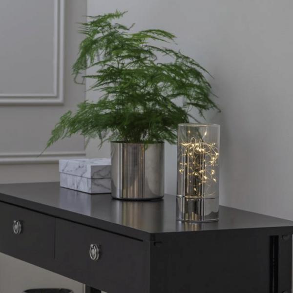 "LED ""Glass Tube"" - Rauchglas mit 20 warmweißen LED - H: 20cm D: 9cm - Batteriebetrieb - Timer"