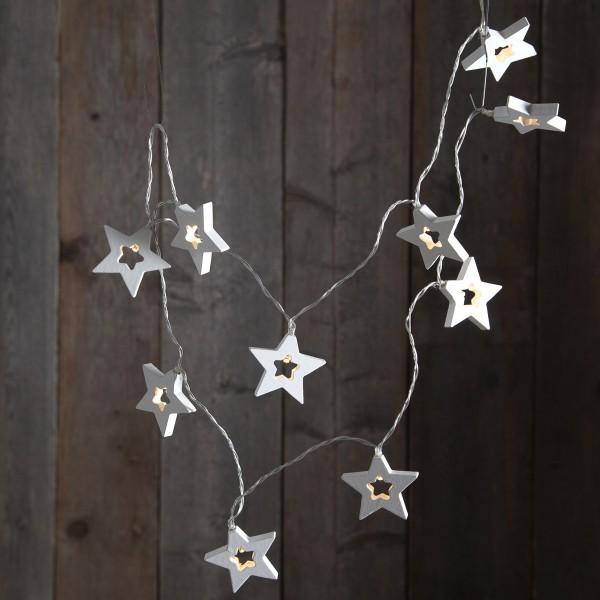 LED Lichterkette Sterne - Holz - 10 warmweiße LED - Batteriebetrieb - Timer - 1,35m - weiß