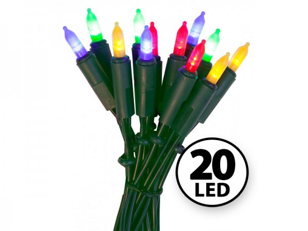 LED-Weihnachts-Lichterkette | P-LED INDOOR | Grünes Kabel | 2.85m | 20x LED | Mehrfarbig
