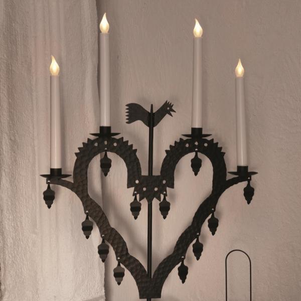 """LED Kerzenleuchter """"Herz"""" - 4 Arme - warmweiße LED - H: 62 - Schalter - schwarz"""