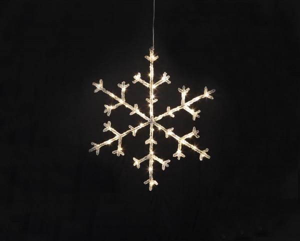 """LED-Acryl-Schneeflocke """"Icy Star"""" - 50 warmweiße LED - H: 45cm - schwarz/klar - Timer"""