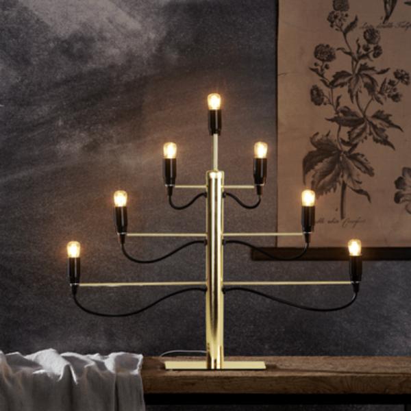 """Kerzenleuchter/Tischleuchte """"Milano"""" - 7-armig - E14 Fassung - H: 52,5cm, L: 60cm - gold/schwarz"""