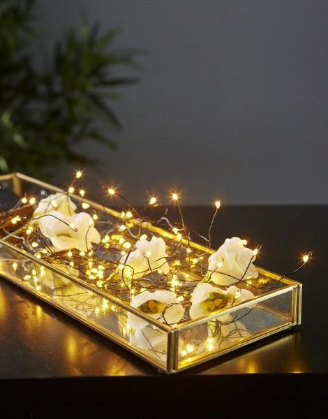 LED-Bukett - 46 warmweiße LEDs an 5 Strängen - silberner Draht - Batterie - Timer