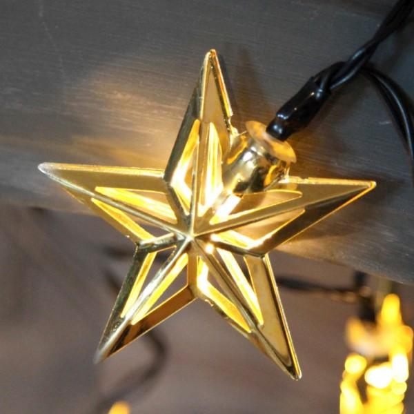 LED-Lichterkette - Star Line Indoor - Batteriebetrieb - Timer - 1,35m - 10x Warmweiß - Gold-Stern