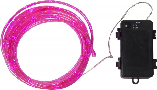 LED-Mini-Lichtschlauch 5m pink - outdoor - 50 LEDs - Batteriebox - Timer