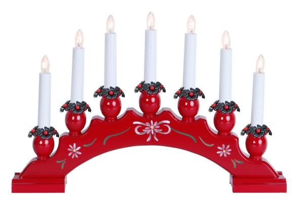 Fensterleuchter SANNA - 7 warmweiße Glühlampen - L: 42cm, H: 27cm - Schalter - Rot