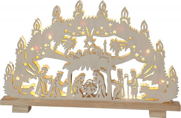 "Fensterleuchter ""Hilden"", 10flammig Material: Holz, Farbe: natur / Glitter ca. 29 cm x 45 cm Vierfarb-Karton"