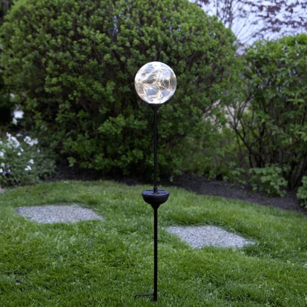 "LED Solarstab ""Glory"" - silberne Kugel - 30 warmweiße LED - H: 70cm - D: 12cm - Dämmerungssensor"