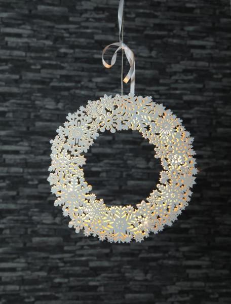 "LED-Fensterkranz ""Snowflake"" - Schneeflocke - 11 warmweiße LED - D: 45cm - Holz - weiß"
