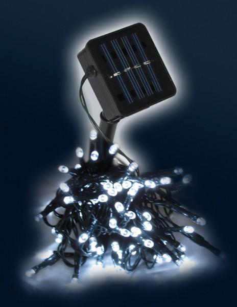 LED-SOLAR-Lichterkette | 50x hellweiße LEDs | In&Outdoor | grünes Kabel | kaltweiße LED | 5m