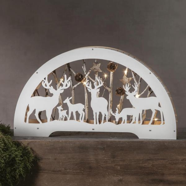 """LED-Fensterleuchter """"Fauna"""" - Rentiere mit Zweigen - 10 warmweiße LED - Batteriebetrieb - weiß"""