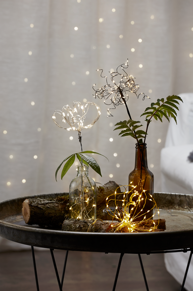 "LED-Lichterbouquet ""Firework"" - gold - 20 Äste, 60 daylight LED - H: 42cm - Batterie - Timer"