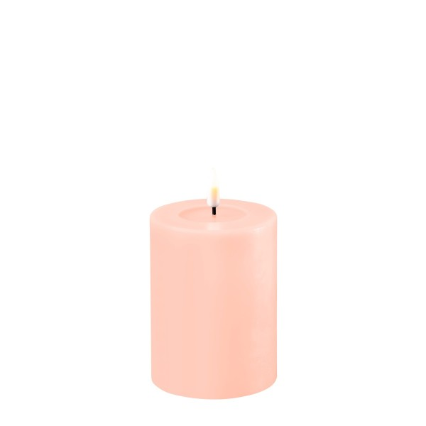 LED Stumpenkerze MIA - Echtwachs - realistische 3D Flamme - H: 10cm - Batteriebetrieb - rosa