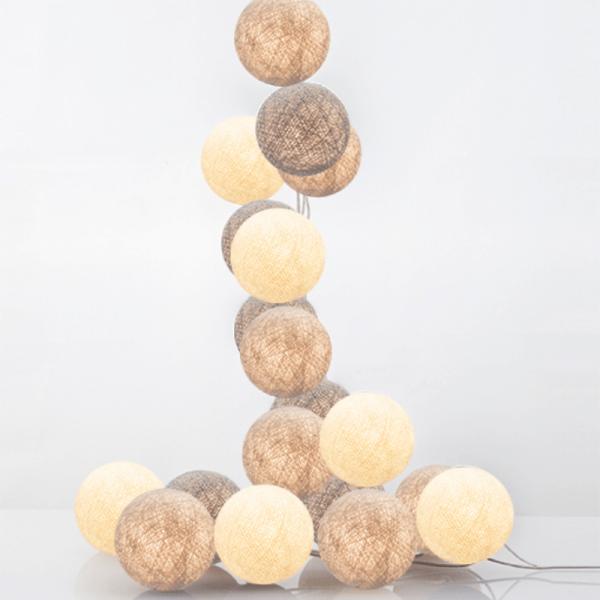 good moods* TILA - Ball-Lichterkette mit 20 Stoffkugeln - 20 warmweiße LEDs - Geschenkkarton