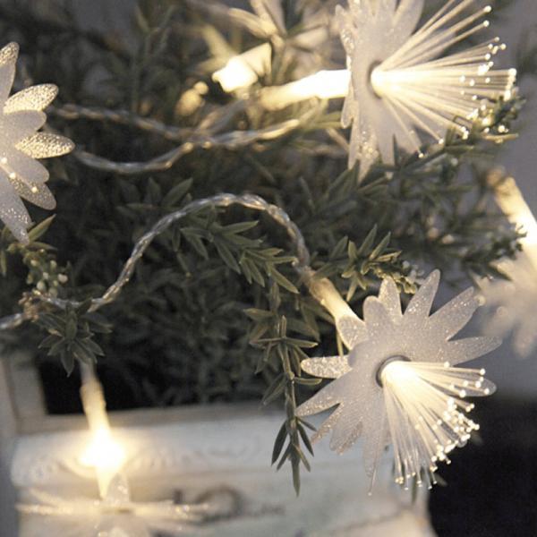LED Lichterkette - Blume aus Fiberglas - 10 warmweiße LED - 1,35m - Batterie - Timer - transparent