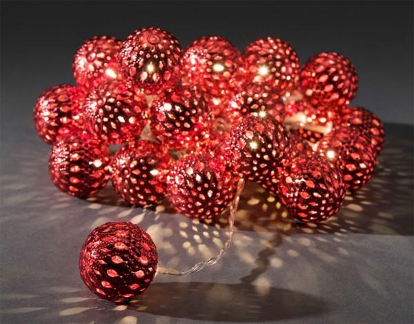 LED-Dekolichterkette - 3,00m - 24x Warmweiß - Ø 4cm - Rot - transparentes Kabel
