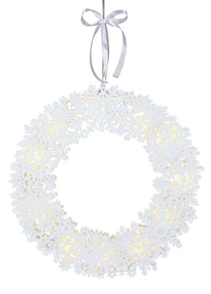 "LED-Fensterkranz ""Snowflake Wreath"" 11 warmwhite LED, Material: Holz Farbe: weiss, ca. 45 cm x 45 cm mit Trafo, Vierfarb-Karton"