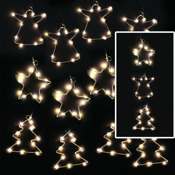 LED Lichterkette Baum - 4 Bäume mit je 10 neutralweißen LED - Timer - Batteriebetrieb - weiß
