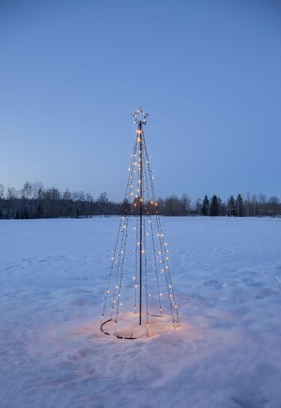 "LED-Lichterbaum ""Light Tree"" - 170 warmweiße LED - 17 blinkende LED - H. 210cm - outdoor - schwarz"