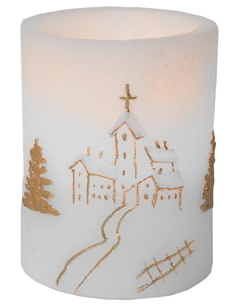 LED -Kerze | Echtwachs | Myrt-Design | Kirche | flackernde LED | Timer | →7.5cm | ↑10cm
